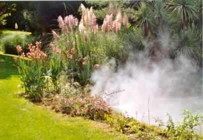brumisation jardin fontaine brume