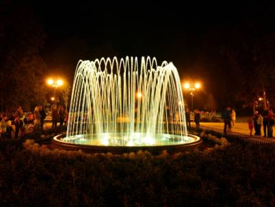 Fontaine lumineuse jets laminaires